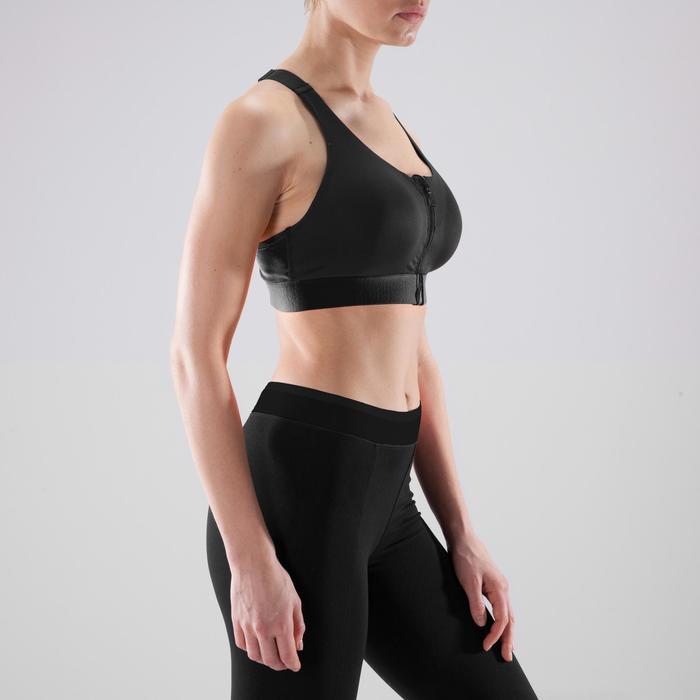 Cardiofitness sportbeha zip voor dames 900 zwart