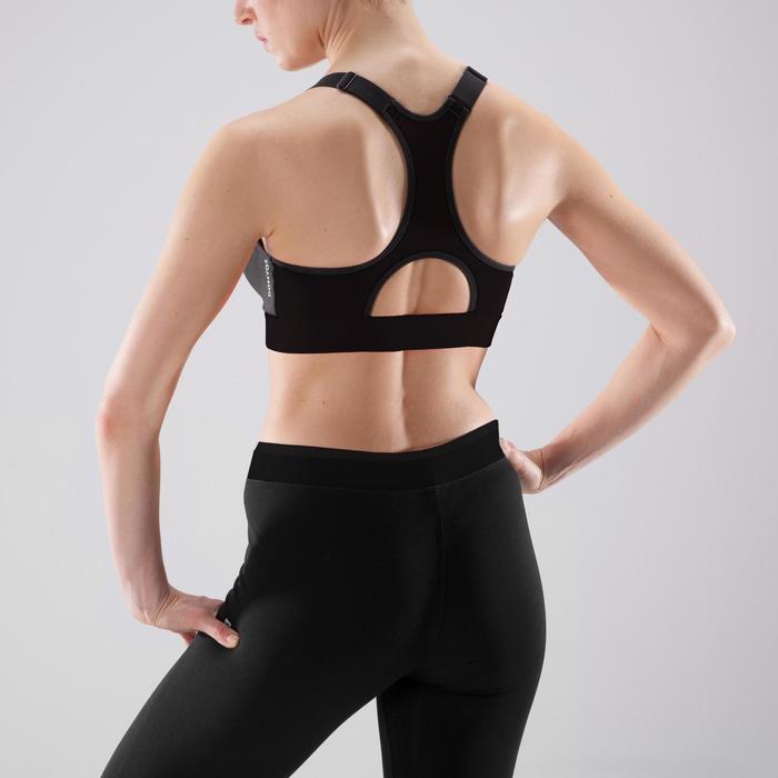 Sujetador-top cremallera cardio fitness mujer negro 900