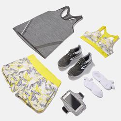 Laufshorts Run Dry Print Damen grau/gelb