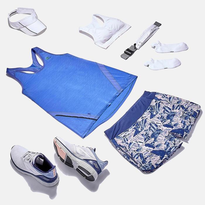 Pantalón Corto Deportivo Running Kalenji Run Dry Mujer Azul Estampado