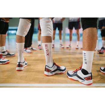 Chaussettes de volley-ball mid V500 blanches et rouges