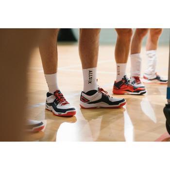 Halfhoge volleybalsokken V500 wit en rood