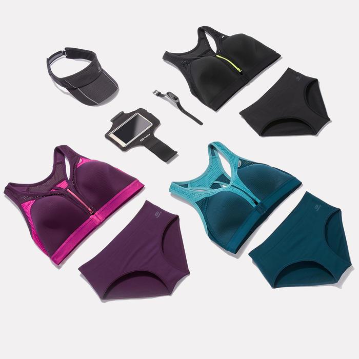 Sport-BH Bustier Easy Zip Reißverschluss pflaume/rosa