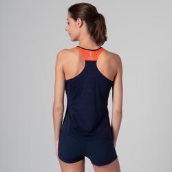 女款田徑背心藍色與橘色