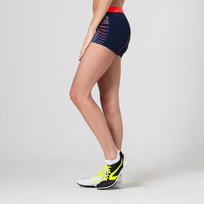 SHORTY D'ATHLETISME FEMME BLEU ET ORANGE