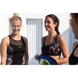 Bañador Aquafitness Piscina Nabaiji Lena Mujer Escote con Transparencias Negro