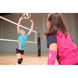 Camiseta de voleibol niña V100 verde y rosa