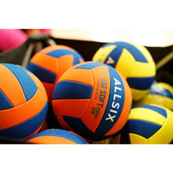 Volleyball V100 Soft 230–250 g 10–14 Jahre orange/blau