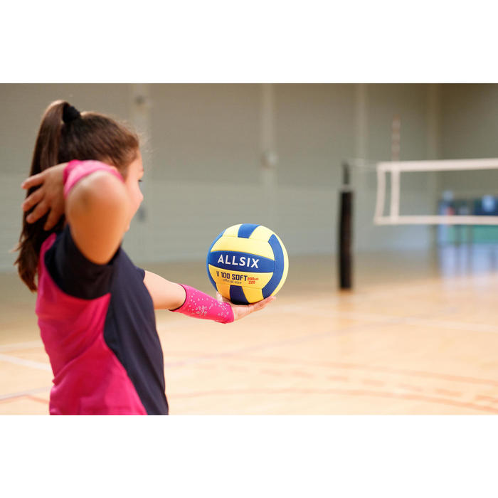 V100 Soft Volleyball 200-220g for Ages 6-9 - Yellow/Blue