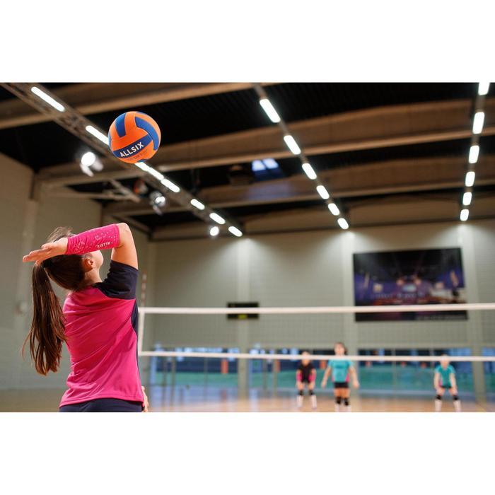 Volleyball V100 Soft 230–250 g 10–14 Jahre orange/blau