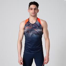 男款田徑背心藍色與橘色