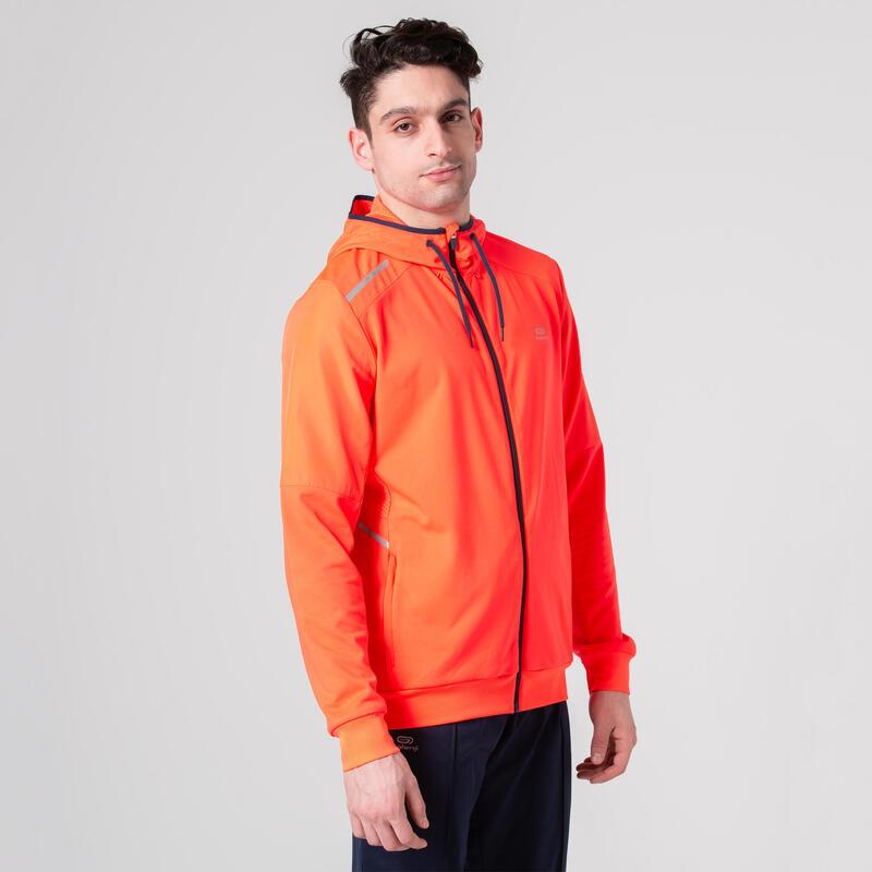 เสื้อแจ็คเก็ตผู้ชายสำหรับใส่อบอุ่นร่างกายก่อนเล่นกีฬา (สีส้ม)