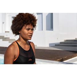 Bañador Aquafitness Piscina Nabaiji Lena Mujer Escote con Transparencias Fluor