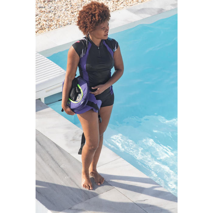 Top manga corta de aquagym y aquafitness mujer Anna negro