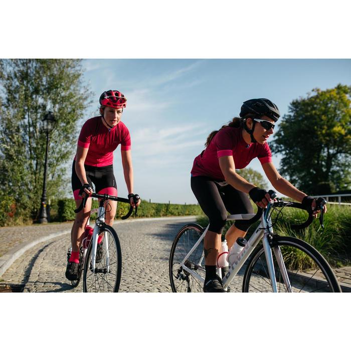 Wielershirt RR900 met korte mouwen voor dames roze golfprint