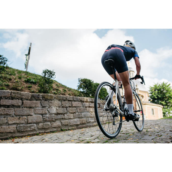 Cuissard vélo bretelles femme 900 bleu marine