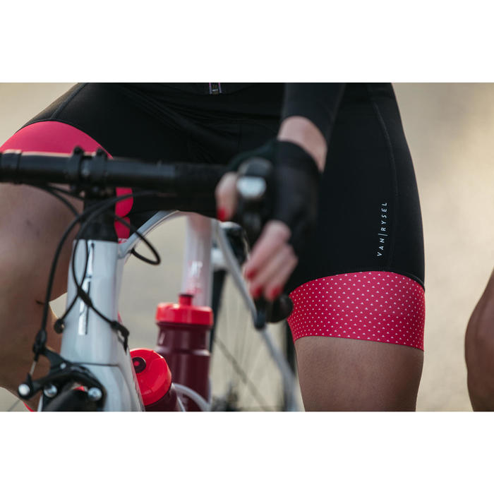 Fietsbroek 900 zonder bretels voor dames zwart roze