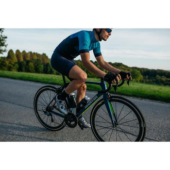 Kurze Fahrrad-Trägerhose Rennrad RR 500 Herren blau