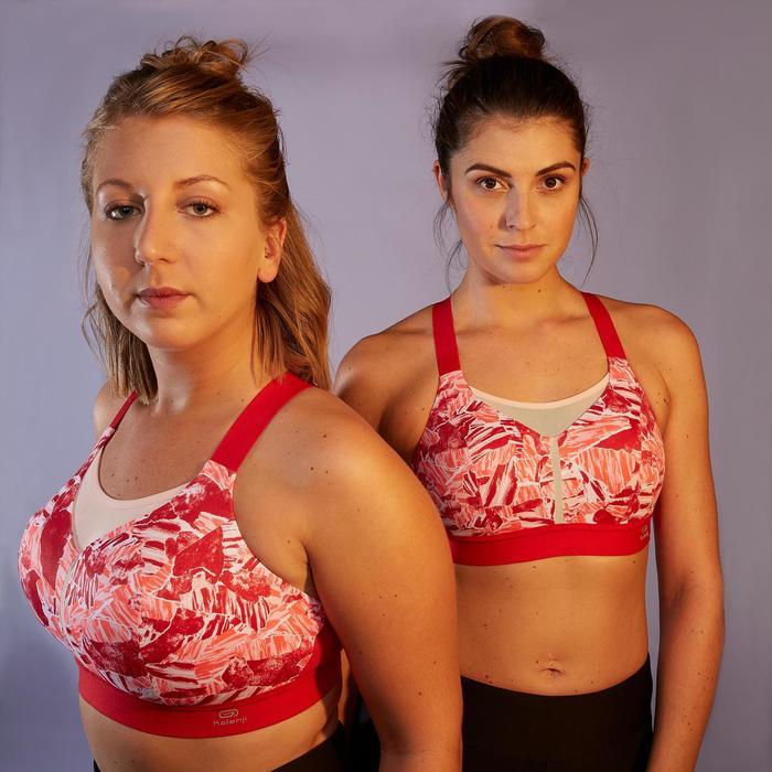 Top Sujetador Running Kalenji Ajustable Mujer Rosa/Rojo/Rosa Estampado