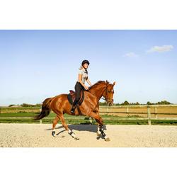 Polo Equitación Fouganza 140 Mujer Gris Jaspeado Manga Corta