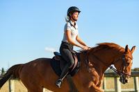 Polo de manga corta equitación mujer 140 gris moteado