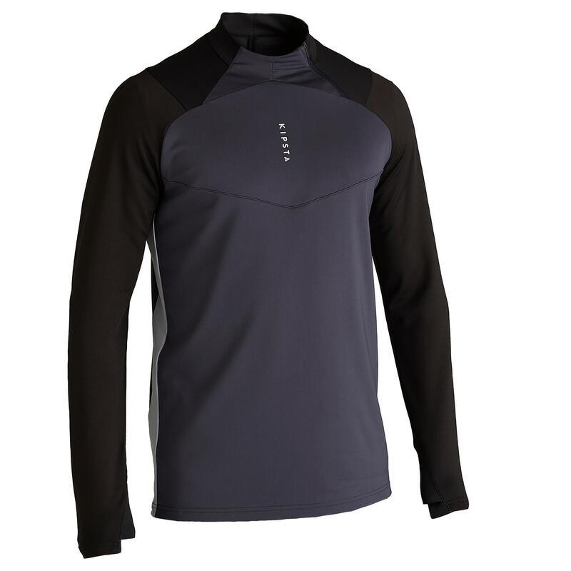 Sweat de football 1/2 zip adulte T500 noir carbone