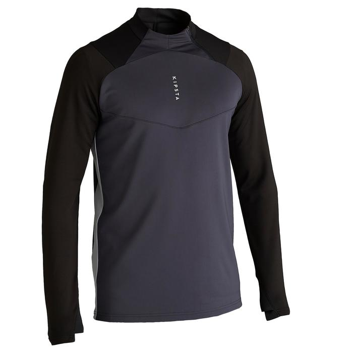Sweat de football 1/2 zip adulte T500 noir carbone