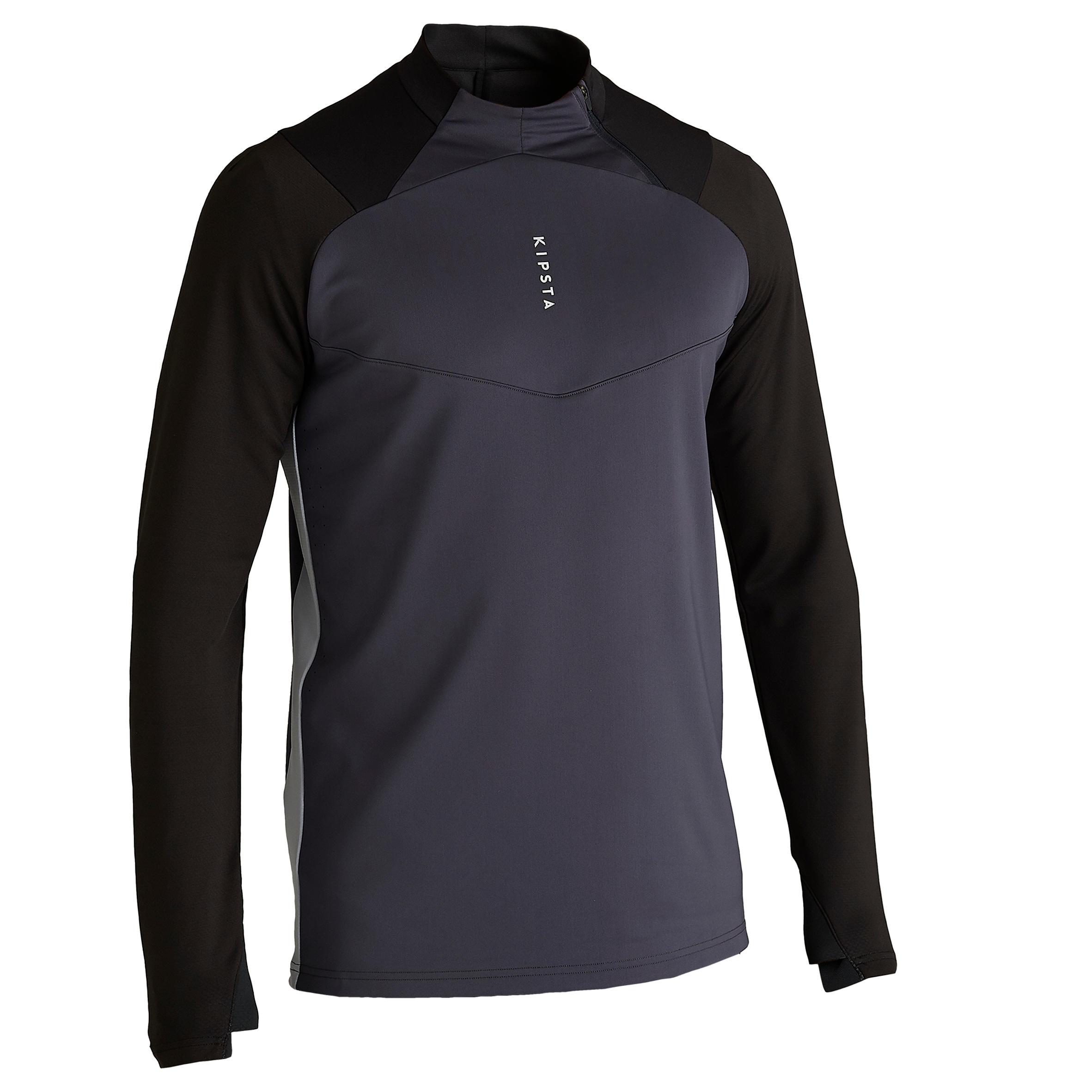 Trainingsshirt Fussball T500 1/2 Zip Erwachsene schwarz