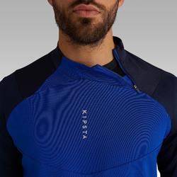 Sweat de football 1/2 zip adulte T500 bleu