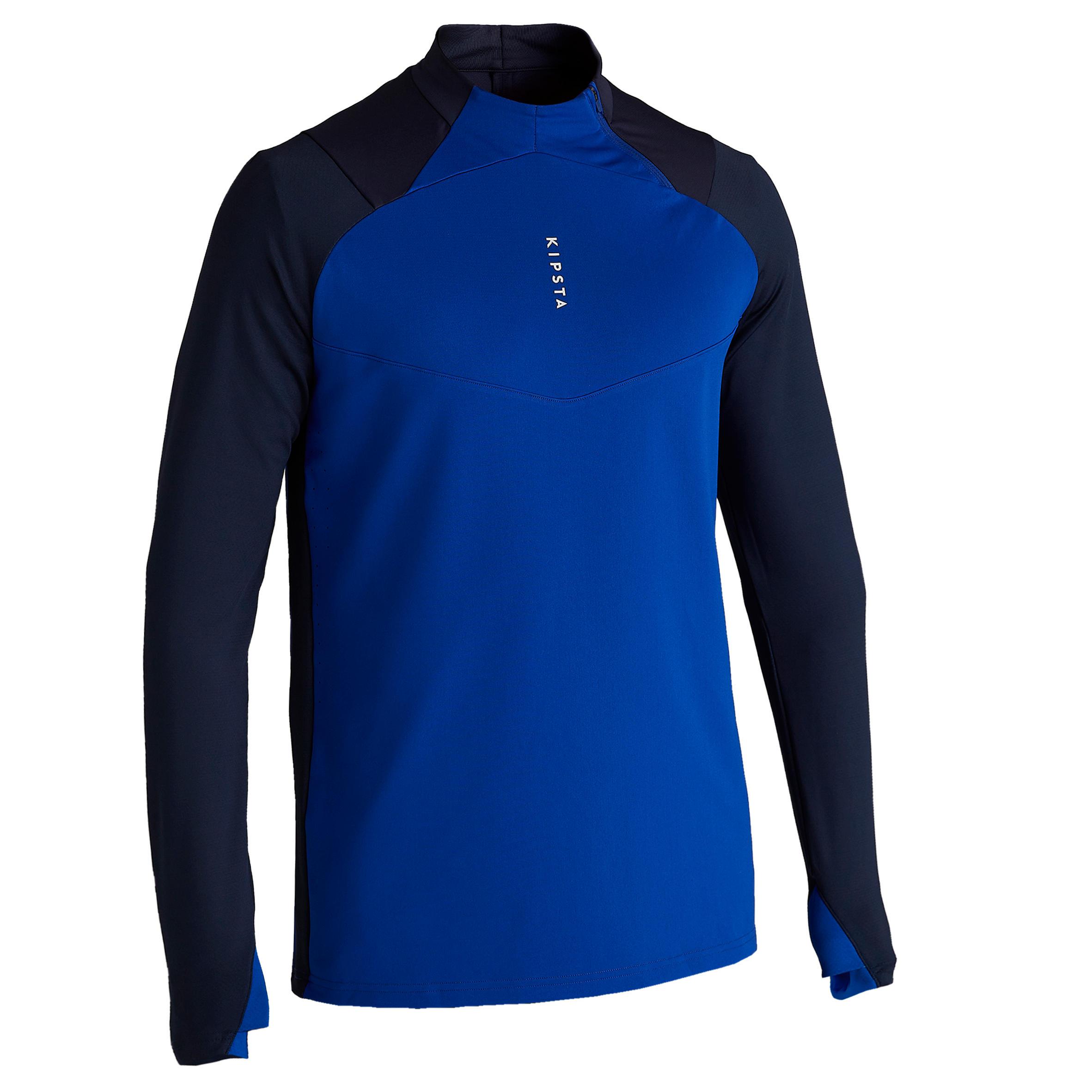Trainingsshirt Fussball T500 1/2 Zip Erwachsene blau