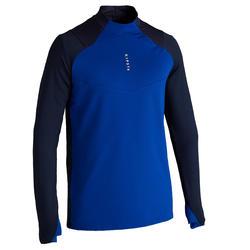 Trainingsshirt voor voetbal volwassenen T500 halve rits blauw
