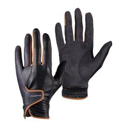 馬術手套500-黑色/灰色/駝色