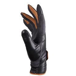 500 Horse Riding Gloves - Black/Grey/Camel