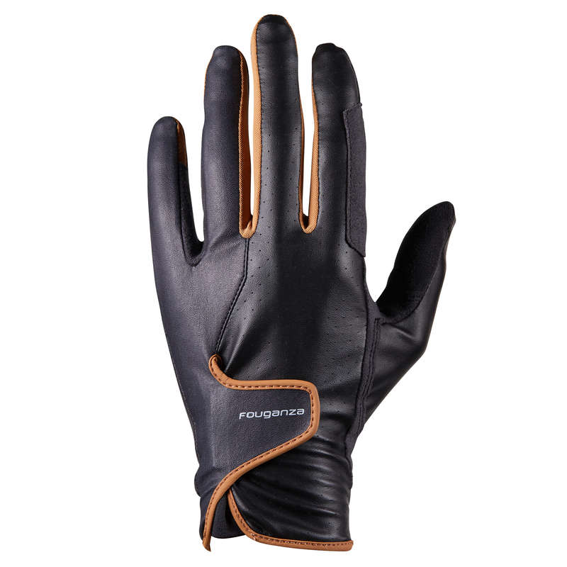 HORSE RIDING GLOVES MEN Nordic Walking - 500 Gloves - Black/Camel FOUGANZA - Nordic Walking Clothing