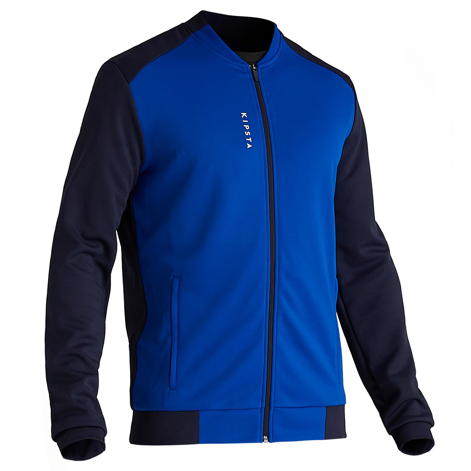 Veste de football légère adulte t100 bleue kipsta