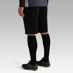 Short de soccer long adulte T500 noir carbone