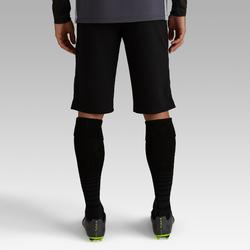 Short de football long adulte T500 noir carbone