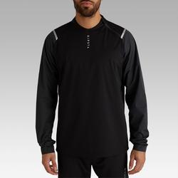 Waterdicht windjack voor voetbal voor volwassenen T500 zwart/carbon