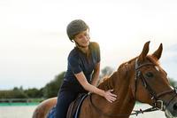 500 Women's Horseback Riding Short-Sleeved Polo Shirt - Blue/Navy