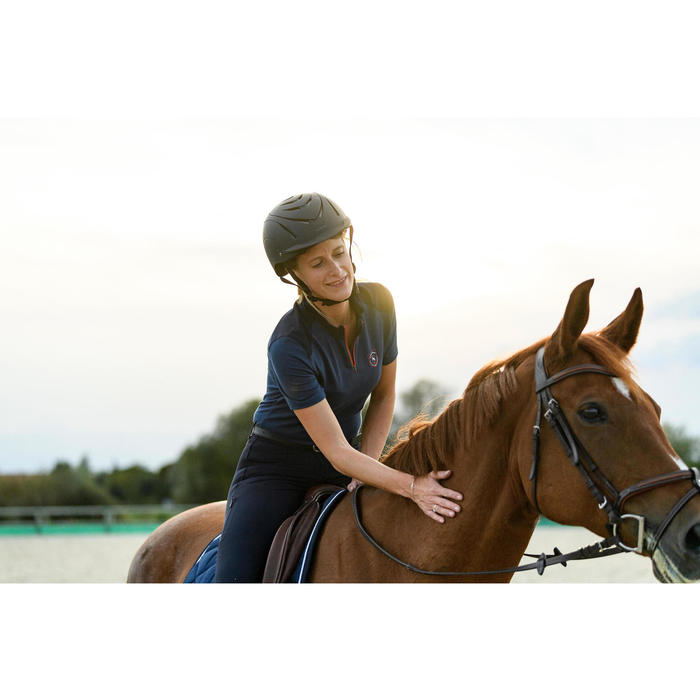 500 Women's Horse Riding Short-Sleeved Polo Shirt - Blue/Navy