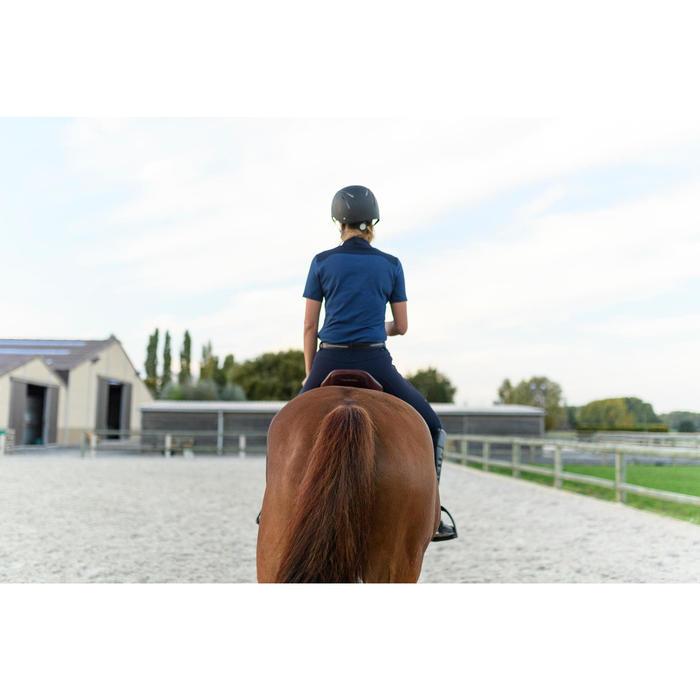 Polo manga corta equitación mujer 500 azul turquí y azul marino