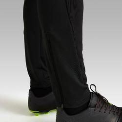 成人款足球長褲T500-碳黑色