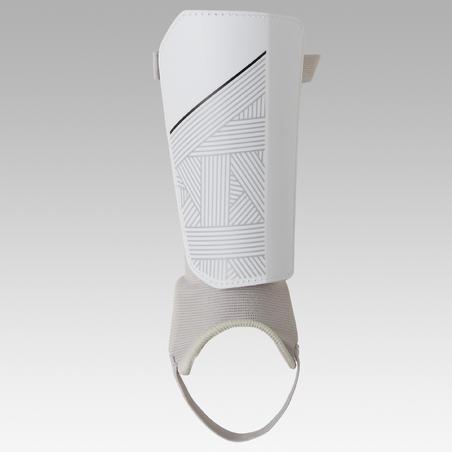 Protège-tibias de soccer enfant F140 avec chevillère cousue  Blanc.