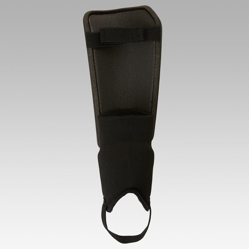 F140 Adult Football Shin Pads with Detachable Ankle Pad - Black
