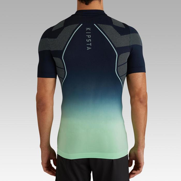 Camiseta térmica de fútbol manga corta adulto Keepdry500 azul marino verde menta