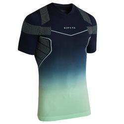 Thermoshirt Keepdry 500 korte mouwen marineblauw/muntgroen