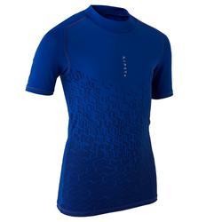 Camiseta térmica de fútbol manga corta júnior Keepdry 100 azul índigo