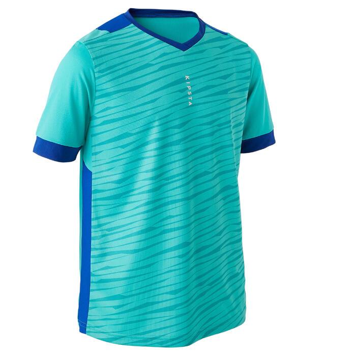 Maillot de football enfant manche courte F500 turquoise et bleu