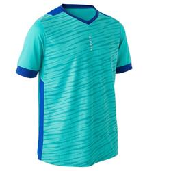 Voetbalshirt korte mouwen voor kinderen F500 turquoise en blauw