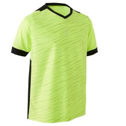 F500 Kids' Short-Sleeved Football Shirt - Neon Yellow/Black